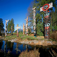 Vancouver, BC, British Columbia, Canada - Totem Poles at Brockton Point in Stanley Park, in Spring