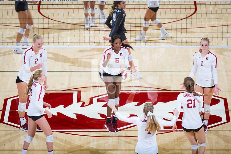 STANFORD, CA - October 12, 2018: Kathryn Plummer, Tami Alade, Jenna Gray, Kate Formico, Meghan McClure, Sidney Wilson at Maples Pavilion. No. 2 Stanford Cardinal swept No. 21 Washington State Cougars, 25-15, 30-28, 25-12.