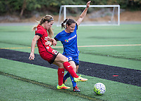 Seattle, WA - Saturday Aug. 27, 2016: Mallory Weber, Kendall Fletcher during a regular season National Women's Soccer League (NWSL) match between the Seattle Reign FC and the Portland Thorns FC at Memorial Stadium.