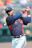Atlanta Braves infielder Ernesto Mejia #58 during practice before a Spring Training game against the Detroit Tigers at Joker Marchant Stadium on February 27, 2013 in Lakeland, Florida.  Atlanta defeated Detroit 5-3.  (Mike Janes/Four Seam Images)