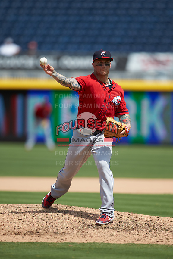 Columbus Clippers outfielder Brandon Barnes (9) pitches in relief against the Durham Bulls at Durham Bulls Athletic Park on June 1, 2019 in Durham, North Carolina. The Bulls defeated the Clippers 11-5 in game one of a doubleheader. (Brian Westerholt/Four Seam Images)