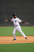 GCL Yankees East shortstop Jose Devers (5) throws to first base during the first game of a doubleheader against the GCL Blue Jays on July 24, 2017 at the Yankees Minor League Complex in Tampa, Florida.  GCL Blue Jays defeated the GCL Yankees East 6-3 in a game that originally started on July 8th.  (Mike Janes/Four Seam Images)