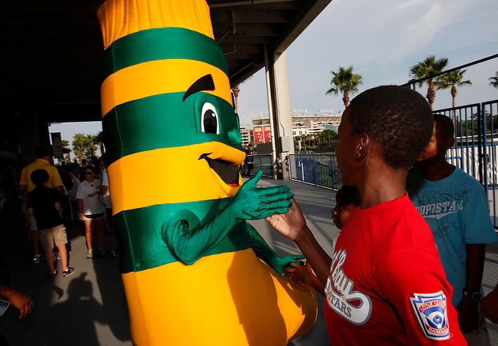JULY 31, 2010; TAMPA, FLORIDA: Hoops the mascot of the FC Tampa Bay Rowdies during a game against the Portland Timbers at Steinbrenner Field in Tampa, Florida. The teams tied 2-2. Photo by Matt May/FC Tampa Bay Rowdies