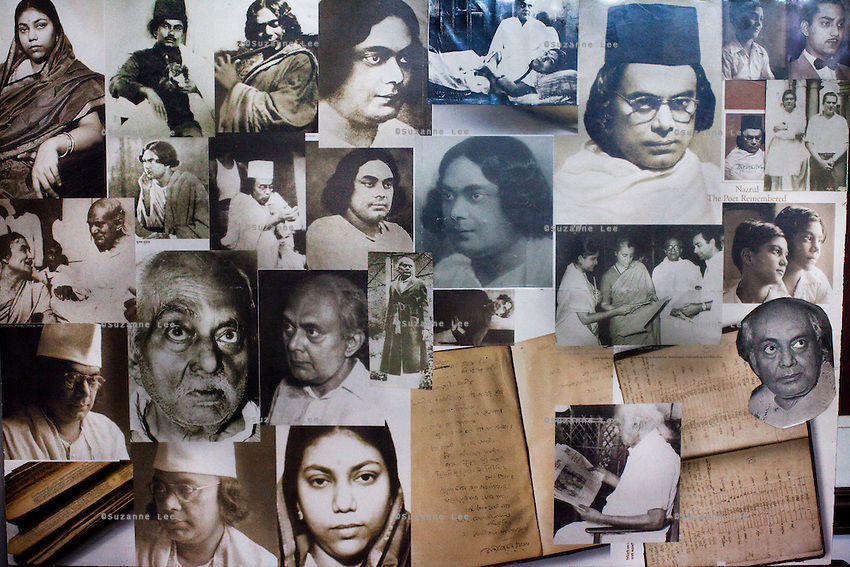 Anindita Kazi's collage of images of her grandfather Kazi Nazrul Islam, in the different stages of his life, adorns the walls in her house in Calcutta, West Bengal, India, on 17th January, 2012. The West Bengal government's attempts to rename one of its historic buildings after a Bengali poet has met with controversy. Kazi Nazrul Islam, Bangladesh's national poet's legacy has always been debated, including his relationship with other Indian intellectuals such as Rabindranath Tagore, who won the Nobel Prize for Literature in 1913. In an attempt to quell doubts, Anindita Kazi, Mr Islam's grand daughter will release a CD in which she reads from unpublished letters between the two poets to show their regard for each other. Photo by Suzanne Lee for The National (online byline: Photo by Szu for The National)