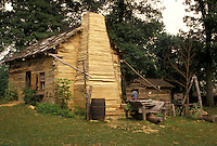 IN, Abraham Lincoln, Indiana, Living Historical Farm at Lincoln Boyhood National Memorial in Indiana.