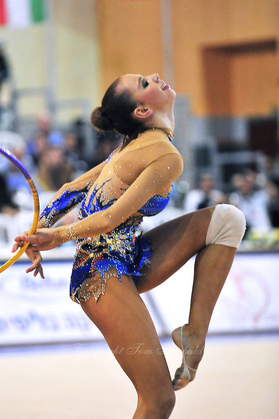 Daria Dmitrieva of Russia performs with hoop on way to winning silver in senior All Around at 2011 Holon Grand Prix, Israel on March 4, 2011.  (Photo by Tom Theobald)