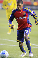 Robbie Findley in the Columbus Crew at Real Salt Lake 1-4 RSL win at Rio Tinto Stadium in Sandy, Utah on April 2, 2009.