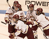 Megan Keller (BC - 4), Andie Anastos (BC - 23), Erin Connolly (BC - 15), Makenna Newkirk (BC - 19), Kenzie Kent (BC - 12) - The Boston College Eagles defeated the Northeastern University Huskies 2-1 to win the Beanpot on Monday, February 7, 2017, at Matthews Arena in Boston, Massachusetts.