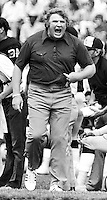 John Madden stomps the sideline..Photo by Ron Riesterer