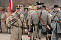 NWA Media/ANDY SHUPE - Volunteers take part in a re-enactment of the Battle of Prairie Grove Saturday, Dec. 6, 2014, at Battlefield State Park in Prairie Grove. This is the 152nd anniversary of the battle which took place Dec. 7, 1862 between 12,000 Confederate and 10,000 Federal soldiers. Visit nwamedia.photoshelter.com to see more photographs from the battle.