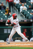 Louisville Bats second baseman Jermaine Curtis (1) at bat during a game against the Buffalo Bisons on June 20, 2016 at Coca-Cola Field in Buffalo, New York.  Louisville defeated Buffalo 4-1.  (Mike Janes/Four Seam Images)