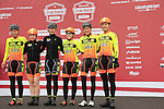 Ale Cipollini team at sign on before the start of the Ladies 2017 Strade Bianche running 127km from Siena to Siena, Tuscany, Italy 4th March 2017.<br /> Picture: Eoin Clarke | Newsfile<br /> <br /> <br /> All photos usage must carry mandatory copyright credit (&copy; Newsfile | Eoin Clarke)