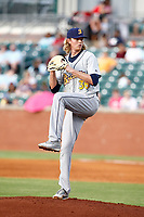 Montgomery Biscuits pitcher Sam McWilliams (36) prepares to deliver the ball to the plate in a game against the Chattanooga Lookouts on May 25, 2018 at AT&T Field in Chattanooga, Tennessee. (Andy Mitchell/Four Seam Images)