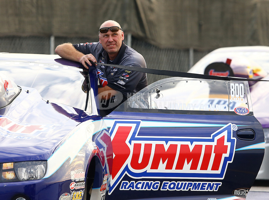 Feb 8, 2014; Pomona, CA, USA; NHRA pro stock driver Jimmy Alund during qualifying for the Winternationals at Auto Club Raceway at Pomona. Mandatory Credit: Mark J. Rebilas-