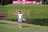 Su Oh (AUS) takes a penalty drop at the 5th green during Thursday's Round 1 of The Evian Championship 2018, held at the Evian Resort Golf Club, Evian-les-Bains, France. 13th September 2018.<br /> Picture: Eoin Clarke | Golffile<br /> <br /> <br /> All photos usage must carry mandatory copyright credit (© Golffile | Eoin Clarke)