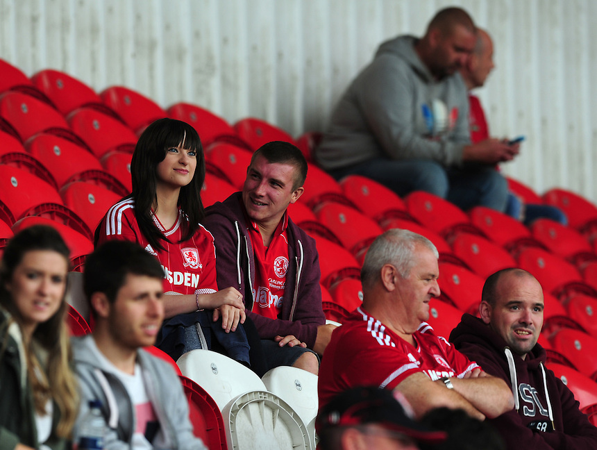 Middlesbrough fans before kick off<br /> <br /> Photographer Chris Vaughan/CameraSport<br /> <br /> Football - Pre-Season Friendly - Doncaster Rovers v Middlesbrough - Saturday 25th July 2015 - Keepmoat Stadium, Doncaster<br /> <br /> &copy; CameraSport - 43 Linden Ave. Countesthorpe. Leicester. England. LE8 5PG - Tel: +44 (0) 116 277 4147 - admin@camerasport.com - www.camerasport.com