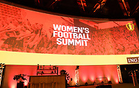 20190827 – BRUSSELS , BELGIUM : illustration picture shows the Women's Football Summit stage during the women 's Football Summit , a summit where the Belgian Football Association KBVB uncover their plans for the future of women soccer in Belgium , tuesday 27 th August 2019 at the Brussels Expo Auditorium 2000  , Belgium  .  PHOTO SPORTPIX.BE   DAVID CATRY