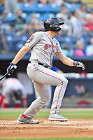 Greenville Drive third baseman Triston Casas (38) swings at a pitch during a game against the Asheville Tourists at McCormick Field on July 10, 2019 in Asheville, North Carolina. The Tourists defeated the Drive 1-0. (Tony Farlow/Four Seam Images)