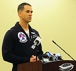 Mike Ullery | Daily Call<br /> Lt. Col. Jason Heard, Commanding Officer of the United States Air Force Thunderbirds addresses the media about the Friday afternoon mishap involving a Thunderbirds F-16 aircraft.