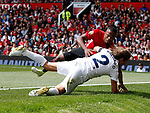Michel Salgado and Patrice Evra fall down together during the Michael Carrick Testimonial match at the Old Trafford Stadium, Manchester. Picture date: June 4th 2017. Picture credit should read: Simon Bellis/Sportimage