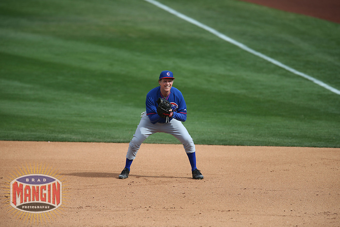 TEMPE, AZ - MARCH 12:  Actor Will Ferrell of the Chicago Cubs plays first base against the Los Angeles Angels during a spring training game at Tempe Diablo Stadium on March 12, 2015 in Tempe, Arizona. (Photo by Brad Mangin)