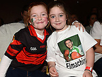 Cousins but rival supporters Ava Lily McCullough and Jayden O'Neill at the White Collar Boxing in City North Hotel. Photo:Colin Bell/pressphotos.ie