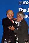 Outgoing Israeli Prime Minister, Ehud Olmert, attends the meeting of the Jewish Agency board of trustees in Jerusalem this morning, Tuesday, February 24 2009. In his speech Olmert continued his virulent attack on Maj. Gen. (res.) Amos Gilad, who was suspended as Israel's pointman for Gaza truce talks in Egypt. Prime Minister Olmert named two senior Israeli officials to replace Amos Gilad. Photo By: Tess Scheflan / JINI
