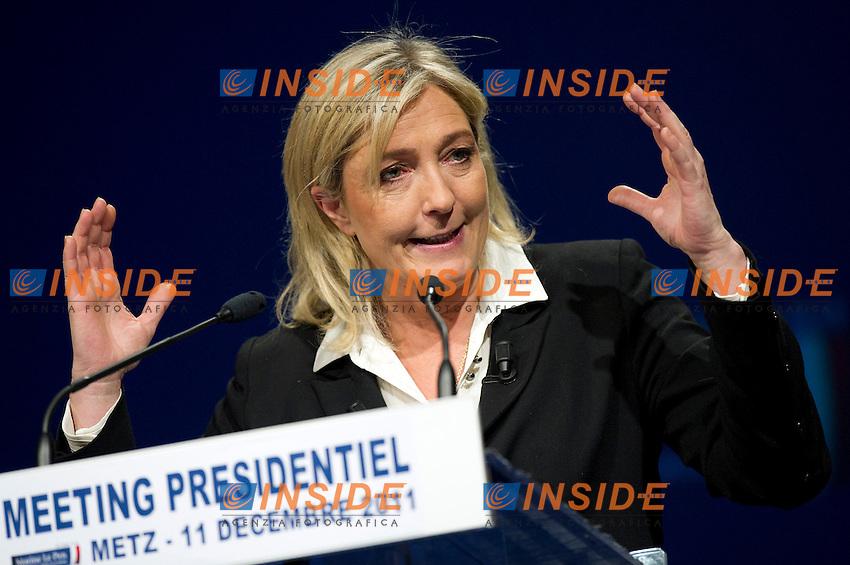 Marine LE PEN candidata del Fronte Nazionale alle Elezioni Presidenziali Francesi del 2012.METZ 11/12/2011.Foto Insidefoto / Guillaume Ramon / Panoramic