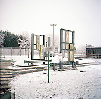 UK. Berlely. 7th December 2010..A radiation detector at the entrance to the plant..©Andrew Testa/Panos for the Sunday Times Magazine..