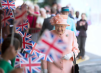 13 June 2017 - Queen Elizabeth II, marking the 175th anniversary of the first train journey by a British monarch. The Queen and The Duke of Edinburgh traveling from Slough to London Paddington on a Great Western Railway train, recreating the historic journey made by Queen Victoria on 13th June 1842. Photo Credit: ALPR/AdMedia