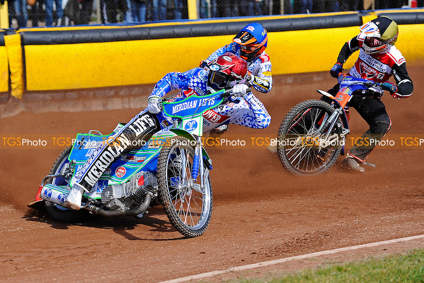 Heat 4 Hans Andersen of Poole Pirates leads  during Poole Pirates vs Swindon Robins, Elite League Speedway at The Stadium on 25th March 2016