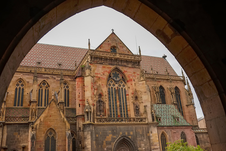 The Dominican Church, with Gothic architecture, resides in the center of the Old Town area of Colmar.