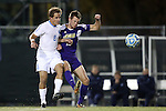 20 November 2014: James Madison's Jonathan Barden (ENG) (10) and North Carolina's Tyler Engel (8). The University of North Carolina Tar Heels hosted the James Madison University Dukes at Fetzer Field in Chapel Hill, NC in a 2014 NCAA Division I Men's Soccer Tournament First Round match. UNC won the game 6-0.