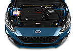 Car stock 2019 Ford Focus ST Base 5 Door Hatchback engine high angle detail view
