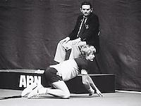 1983, Rotterdam,ABN Tennis, Mel Purcell op de knieen