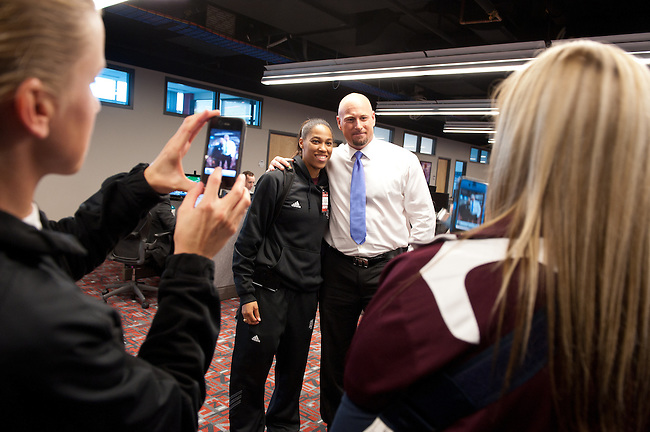 December  05, 2011 - Bristol, CT - ESPN Campus:  Trent Dilfer poses for a photograph with Texas A&M Women's Basketball team...Credit: /ESPN