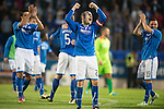 St Johnstone v Rosenborg....25.07.13  Europa League Qualifier<br /> Captain Dave Mackay shows his delight<br /> Picture by Graeme Hart.<br /> Copyright Perthshire Picture Agency<br /> Tel: 01738 623350  Mobile: 07990 594431