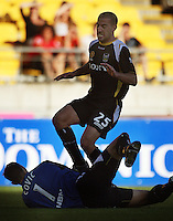 Jets keeper Ante Covic makes a save under pressure from Manny Muscat during the A-League match between Wellington Phoenix and Newcastle Jets at Westpac Stadium, Wellington, New Zealand on Sunday, 4 January 2009. Photo: Dave Lintott / lintottphoto.co.nz