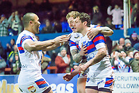 Picture by Allan McKenzie/SWpix.com - 09/02/2018 - Rugby League - Betfred Super League - Wakefield Trinity v Salford Red Devils - The Mobile Rocket Stadium, Wakefield, England - Wakefield celebrate Scott Grix's try against Salford.