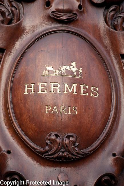 Hermes Brand Shop Sign in Paris, France