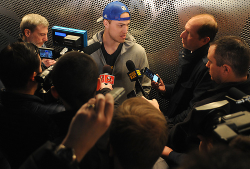 Anders Lee speaks with the media after New York Islanders player exit interviews at Northwell Health Ice Center in East Meadow on Sunday, April 8, 2018.
