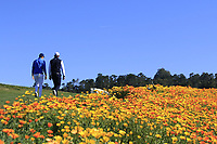 Rafa Cabrera-Bello (ESP) and Jordan Spieth (USA) walk off the 8th tee during Sunday's Final Round of the 2018 AT&amp;T Pebble Beach Pro-Am, held on Pebble Beach Golf Course, Monterey,  California, USA. 11th February 2018.<br /> Picture: Eoin Clarke | Golffile<br /> <br /> <br /> All photos usage must carry mandatory copyright credit (&copy; Golffile | Eoin Clarke)