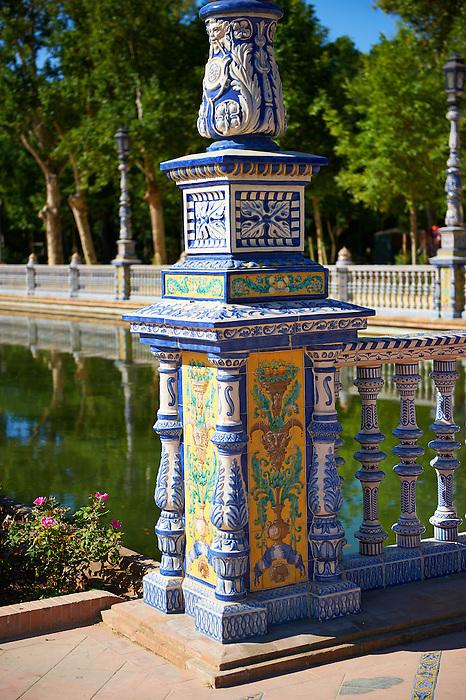 Tiled  lamp column of the Plaza de Espana in Seville built in 1928 for the Ibero-American Exposition of 1929, Seville Spain