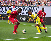CLEVELAND, OH - JUNE 22: Neil Danns #16 attacks against Armando Cooper #11 and Harold Cummings #3 during a game between Panama and Guyana at FirstEnergy Stadium on June 22, 2019 in Cleveland, Ohio.