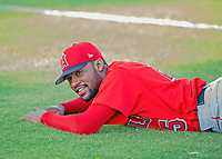 AZL Angels Jordon Adell (25) stretches prior to a game against the AZL Giants on July 10, 2017 at Scottsdale Stadium in Scottsdale, Arizona. AZL Giants defeated the AZL Angels 3-2. (Zachary Lucy/Four Seam Images)