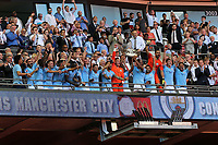Vincent Kompany holds the FA Community Shield aloft as Manchester City celebrate during Chelsea vs Manchester City, FA Community Shield Football at Wembley Stadium on 5th August 2018