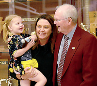 Janelle Jessen/Herald-Leader<br /> Superintendent Ken Ramey, right, visited with Barbara Macken, center, and her daughter during his retirement party on Friday in the Panther Activity Center. Ramey announced in January that he plans to retire at the end of the 2019 school year.