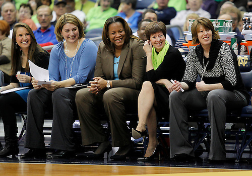 December 31, 2012:  Notre Dame head coach Muffet McGraw and her assistant coaches share laugh during NCAA Women's Basketball game action between the Notre Dame Fighting Irish and the St. Francis (PA) Red Flash at Purcell Pavilion at the Joyce Center in South Bend, Indiana.  Notre Dame defeated St. Francis 128-55.