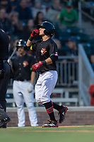 El Paso Chihuahuas shortstop Luis Urias (3) celebrates after hitting a home run during a Pacific Coast League game against the Albuquerque Isotopes at Southwest University Park on May 10, 2019 in El Paso, Texas. Albuquerque defeated El Paso 2-1. (Zachary Lucy/Four Seam Images)