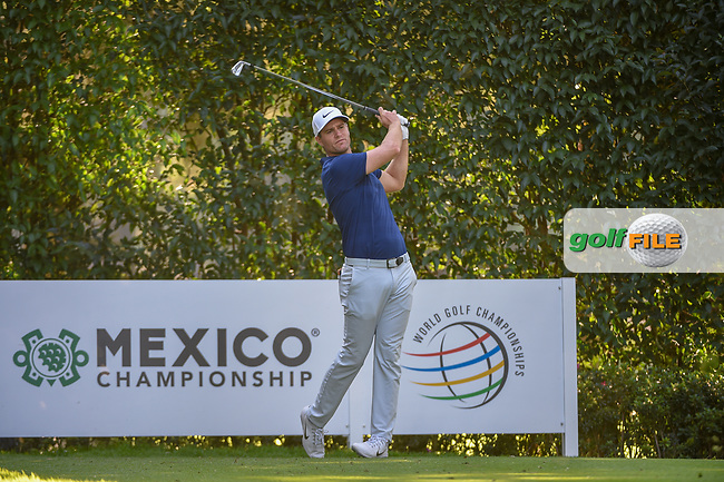 Lucas Bjerregaard (DEN) watches his tee shot on 5 during round 1 of the World Golf Championships, Mexico, Club De Golf Chapultepec, Mexico City, Mexico. 2/21/2019.<br /> Picture: Golffile | Ken Murray<br /> <br /> <br /> All photo usage must carry mandatory copyright credit (© Golffile | Ken Murray)